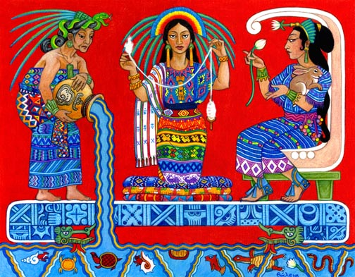 Illustration of three female figures representing three aspects of Ix Chel, the Maya goddess of the moon, healing, women's sexuality, fertility, and midwifery