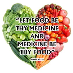 """The text """"Let food be thy medicine and medicine be thy food"""" - Hippocrates superimposed on a heart shape made up of vegetables"""